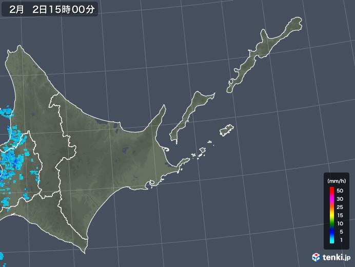 道東の雨雲レーダー(2020年02月02日)