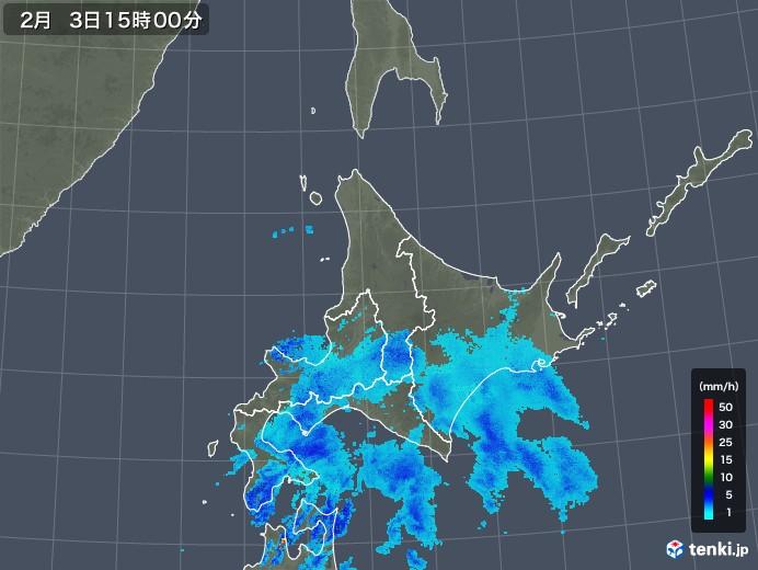 北海道地方の雨雲レーダー(2020年02月03日)