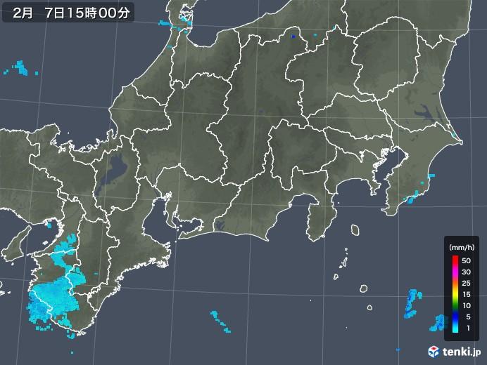 東海地方の雨雲レーダー(2020年02月07日)
