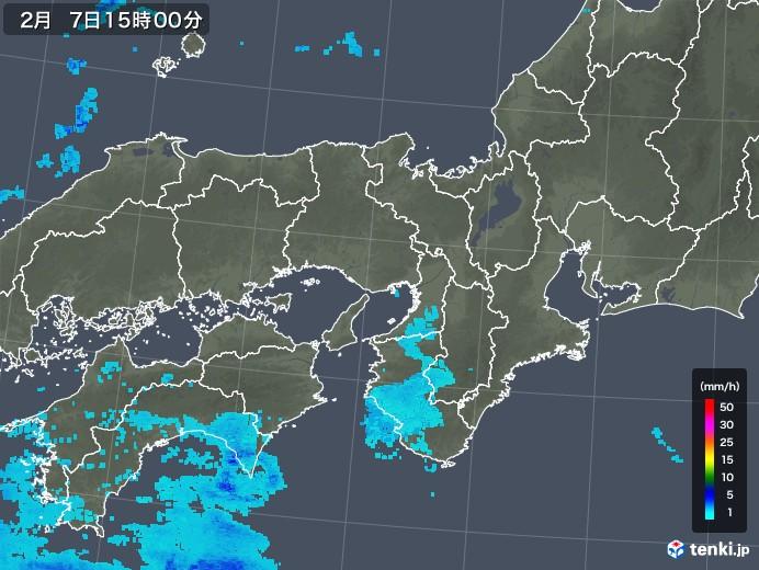 近畿地方の雨雲レーダー(2020年02月07日)