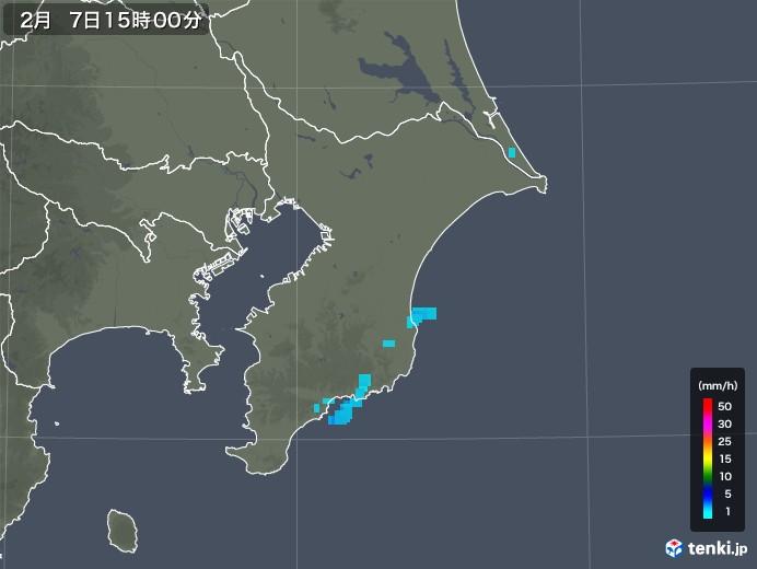 千葉県の雨雲レーダー(2020年02月07日)