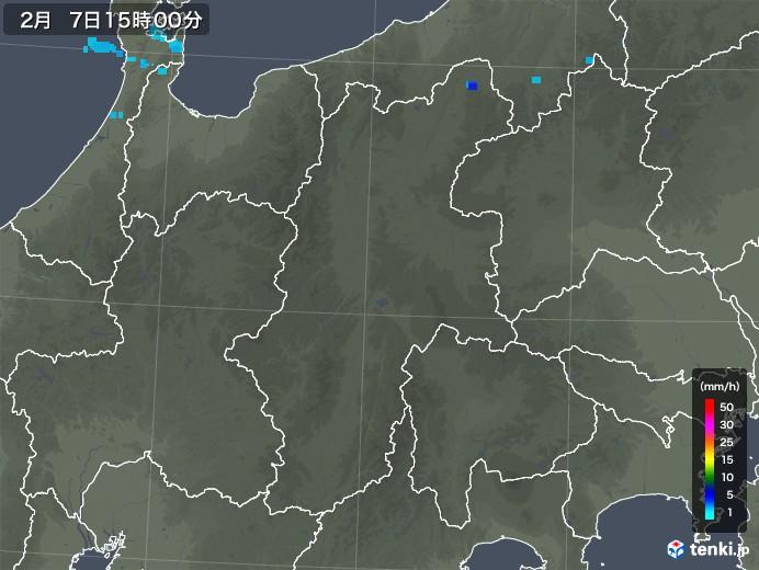 長野県の雨雲レーダー(2020年02月07日)