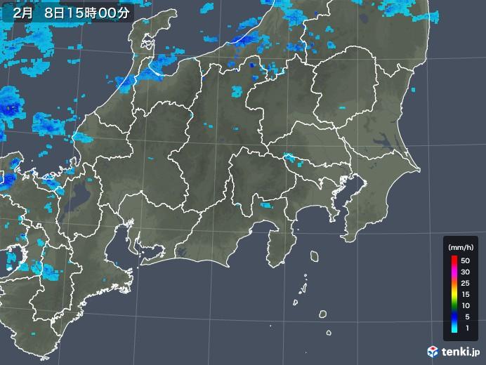 関東・甲信地方の雨雲レーダー(2020年02月08日)