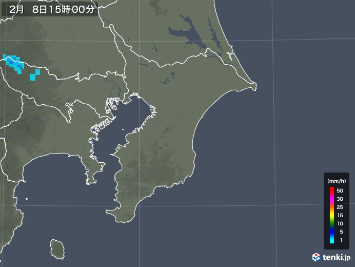 千葉県の雨雲レーダー(2020年02月08日)