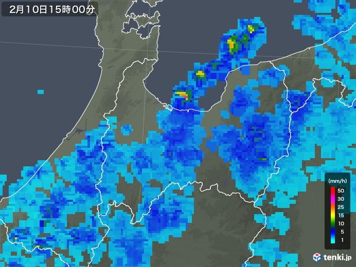 富山県の雨雲レーダー(2020年02月10日)