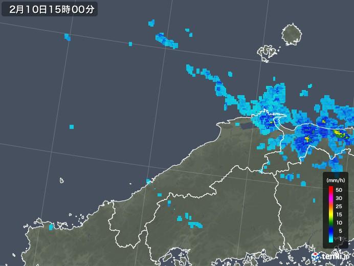 島根県の雨雲レーダー(2020年02月10日)