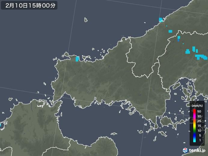 山口県の雨雲レーダー(2020年02月10日)