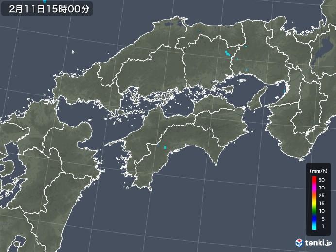 四国地方の雨雲レーダー(2020年02月11日)