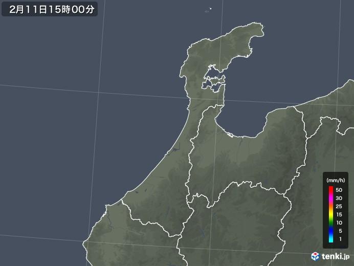 石川県の雨雲レーダー(2020年02月11日)