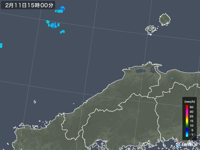 島根県の雨雲レーダー(2020年02月11日)