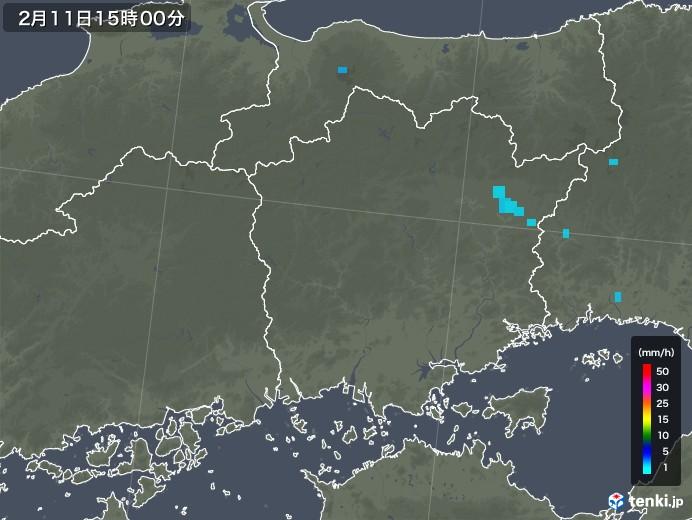 岡山県の雨雲レーダー(2020年02月11日)