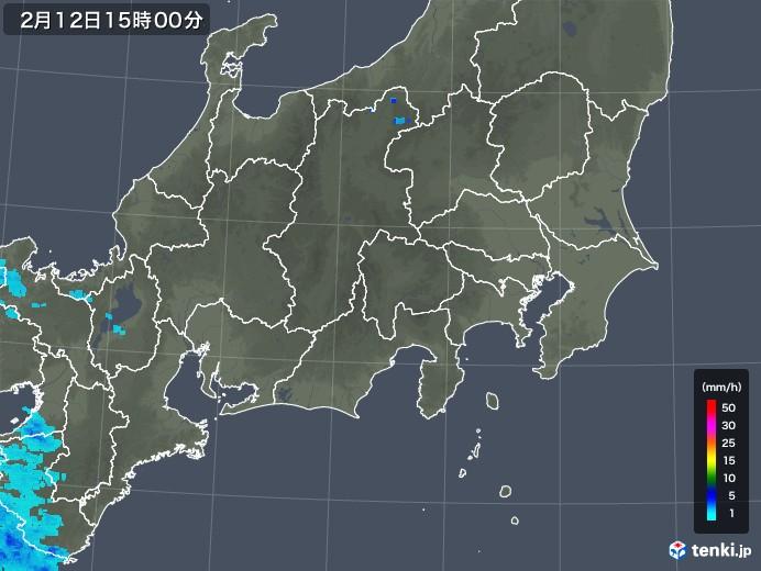 関東・甲信地方の雨雲レーダー(2020年02月12日)