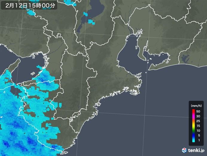 三重県の雨雲レーダー(2020年02月12日)