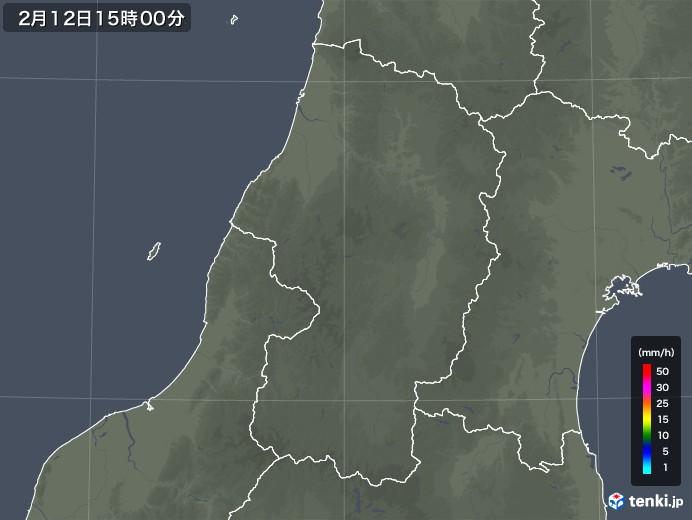 山形県の雨雲レーダー(2020年02月12日)