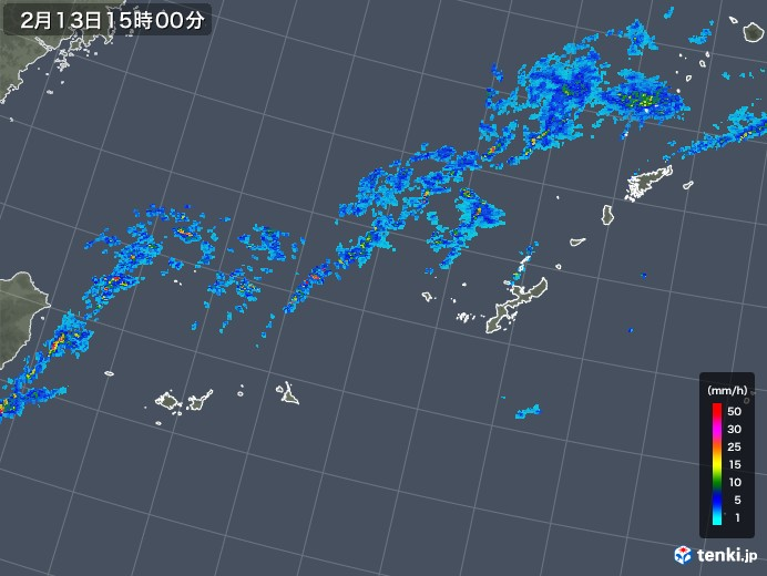 沖縄地方の雨雲レーダー(2020年02月13日)