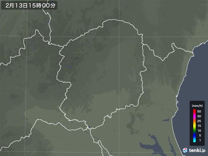 栃木県の雨雲レーダー(2020年02月13日)