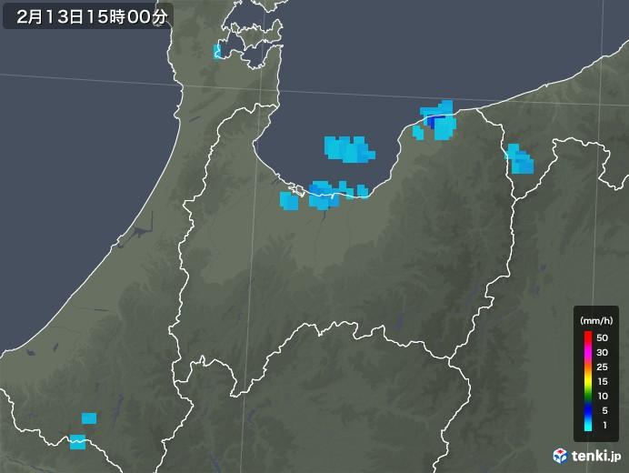 富山県の雨雲レーダー(2020年02月13日)