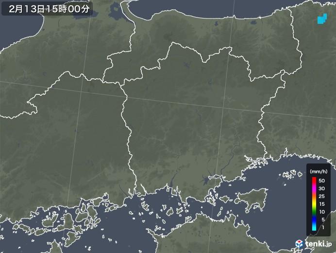 岡山県の雨雲レーダー(2020年02月13日)
