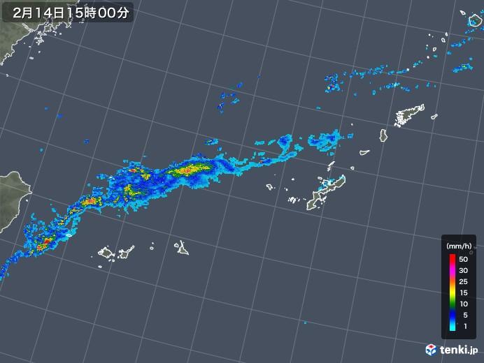 沖縄地方の雨雲レーダー(2020年02月14日)