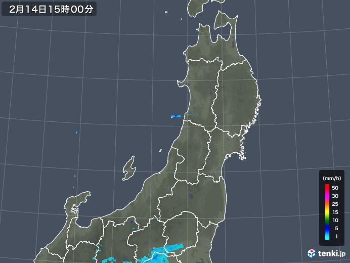 東北地方の雨雲レーダー(2020年02月14日)