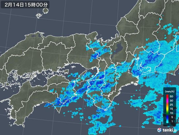 近畿地方の雨雲レーダー(2020年02月14日)