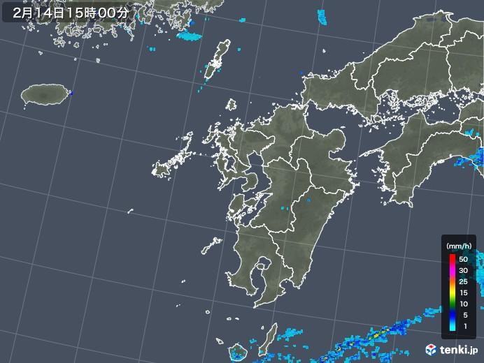 九州地方の雨雲レーダー(2020年02月14日)