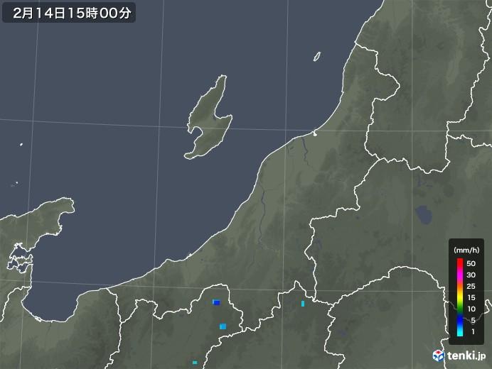 新潟県の雨雲レーダー(2020年02月14日)