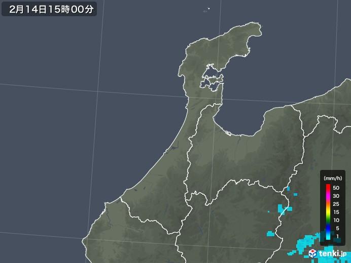 石川県の雨雲レーダー(2020年02月14日)