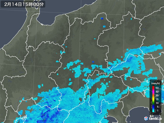 長野県の雨雲レーダー(2020年02月14日)
