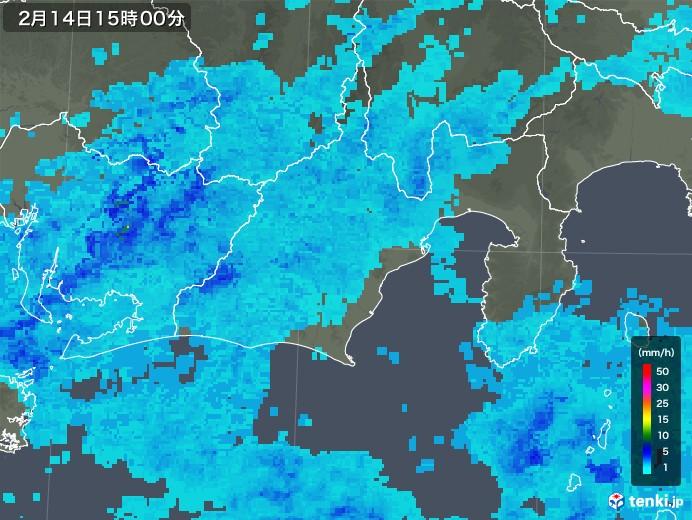 静岡県の雨雲レーダー(2020年02月14日)