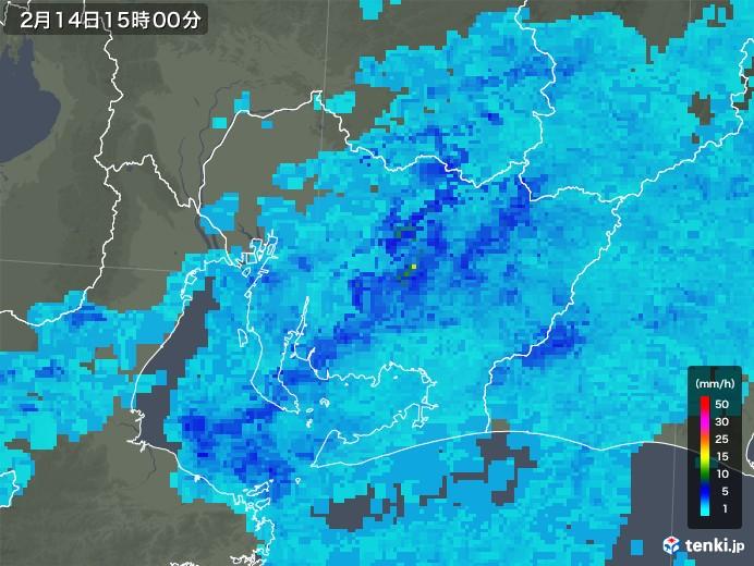 愛知県の雨雲レーダー(2020年02月14日)