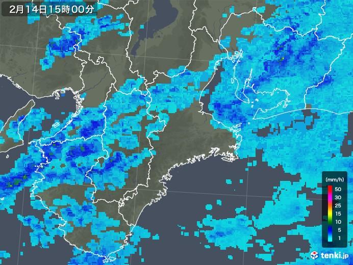 三重県の雨雲レーダー(2020年02月14日)