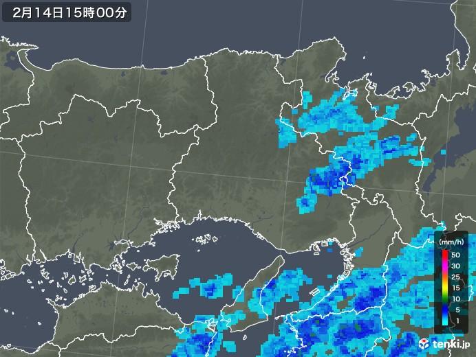 兵庫県の雨雲レーダー(2020年02月14日)