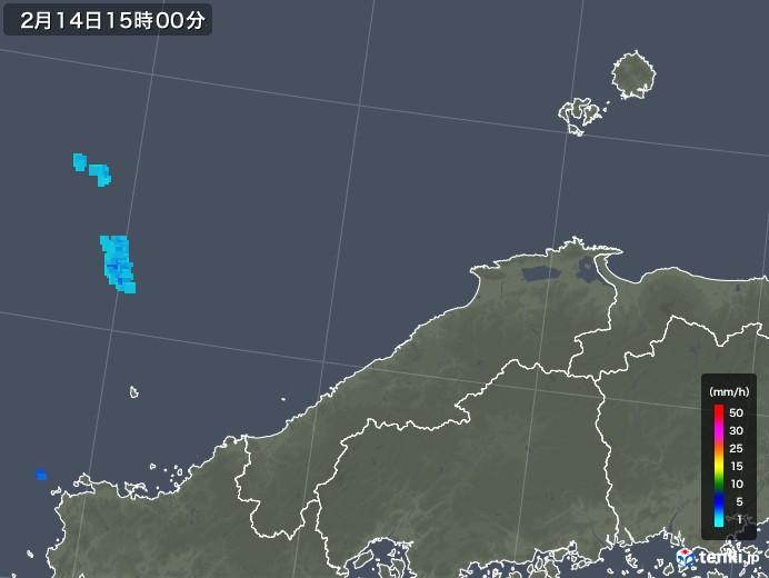 島根県の雨雲レーダー(2020年02月14日)
