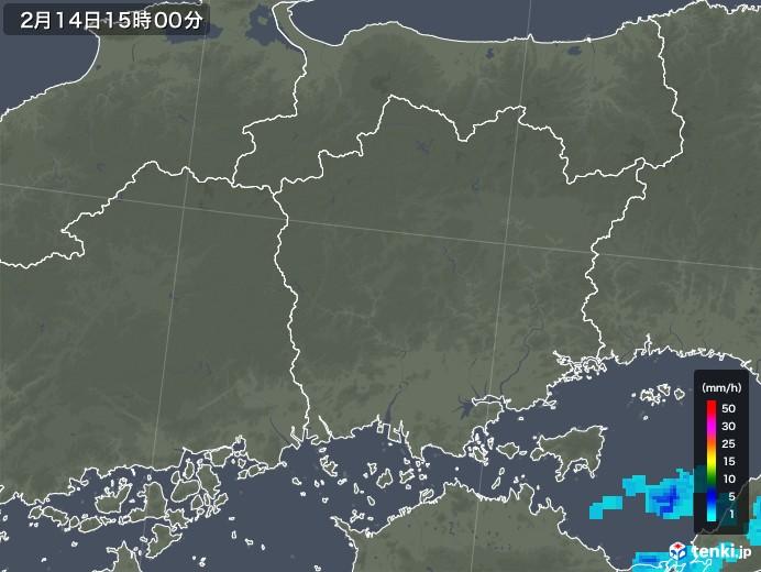 岡山県の雨雲レーダー(2020年02月14日)
