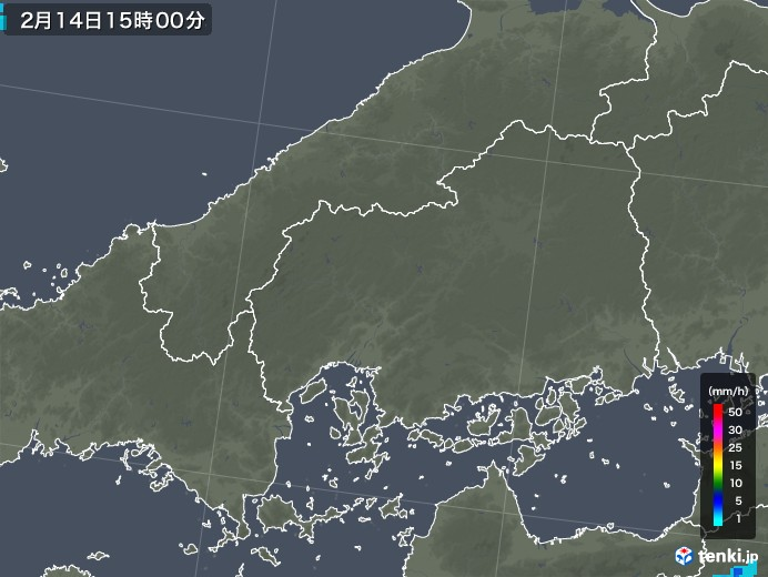 広島県の雨雲レーダー(2020年02月14日)