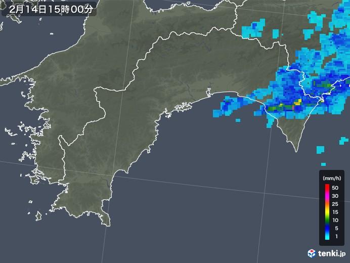 高知県の雨雲レーダー(2020年02月14日)