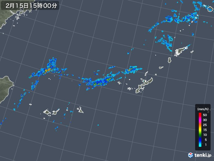 沖縄地方の雨雲レーダー(2020年02月15日)