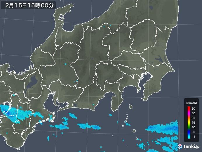 関東・甲信地方の雨雲レーダー(2020年02月15日)