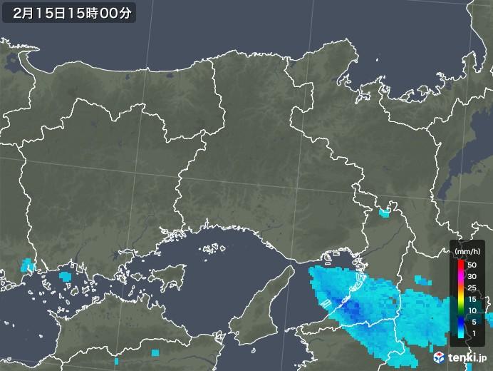 兵庫県の雨雲レーダー(2020年02月15日)