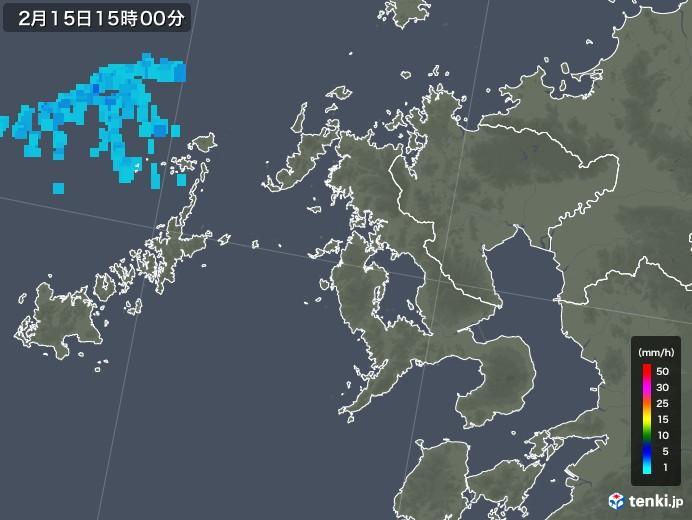 長崎県の雨雲レーダー(2020年02月15日)
