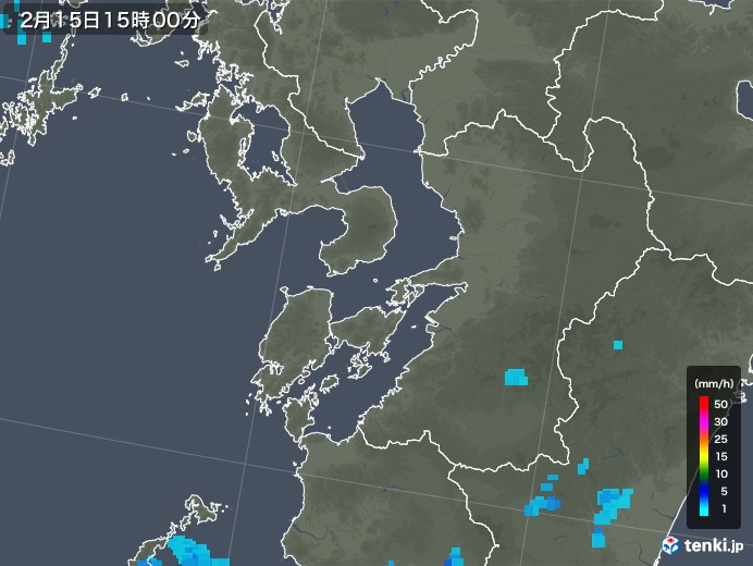 熊本県の雨雲レーダー(2020年02月15日)