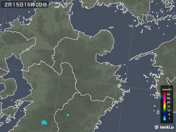 大分県の雨雲レーダー(2020年02月15日)