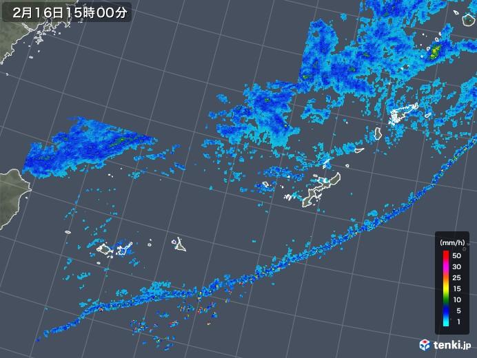 沖縄地方の雨雲レーダー(2020年02月16日)