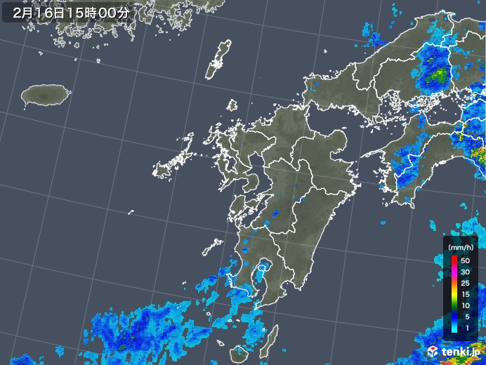 九州地方の雨雲レーダー(2020年02月16日)
