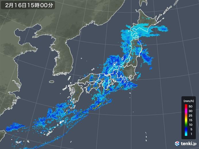 雨雲レーダー(2020年02月16日)