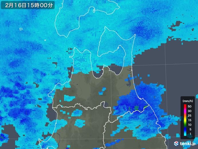 青森県の雨雲レーダー(2020年02月16日)