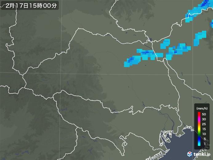 埼玉県の雨雲レーダー(2020年02月17日)