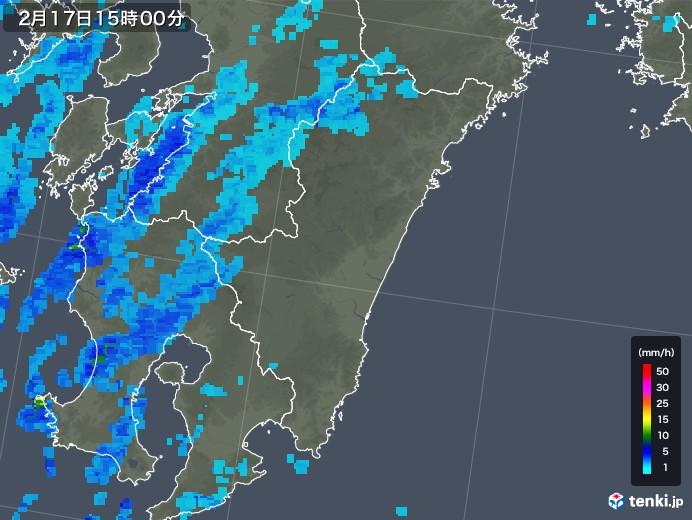 宮崎県の雨雲レーダー(2020年02月17日)