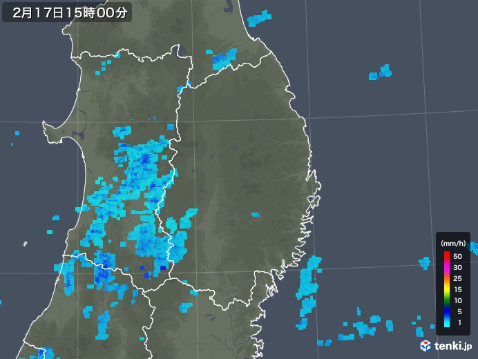 岩手県の雨雲レーダー(2020年02月17日)